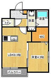 Osaka Metro谷町線 大日駅 徒歩10分の賃貸アパート 2階1LDKの間取り