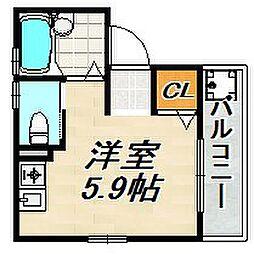 アクシア須磨浦I 2階ワンルームの間取り