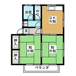 サンハイツII[1階]の間取り