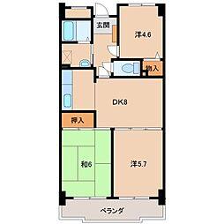 ライオンズマンションリバーサイド布施屋611[6階]の間取り