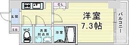 Osaka Metro堺筋線 南森町駅 徒歩9分の賃貸マンション 12階1Kの間取り