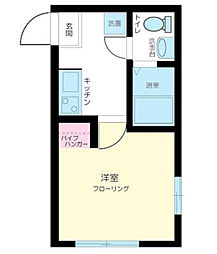 神奈川県横浜市磯子区中原4の賃貸アパートの間取り