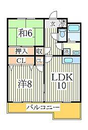 コーポラスMASUDA A棟[3階]の間取り
