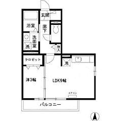 リビングタウン東金沢 B[208号室]の間取り