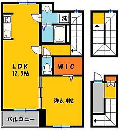 プレインフィールドI MK-II 3階1LDKの間取り
