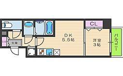 SERENiTE本町reflet 14階1DKの間取り
