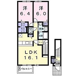 埼玉県三郷市幸房の賃貸アパートの間取り
