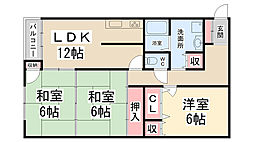 2007070726サンライズ清和台[4階]の間取り