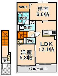 兵庫県伊丹市東野3丁目の賃貸アパートの間取り