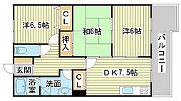 兵庫県姫路市岡田の賃貸マンションの間取り