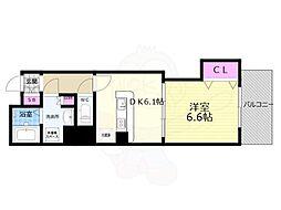 京都市営烏丸線 京都駅 徒歩8分の賃貸マンション 3階1DKの間取り