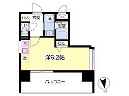 レジデンス箱崎 13階ワンルームの間取り