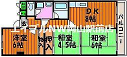 岡山県岡山市中区平井の賃貸マンションの間取り