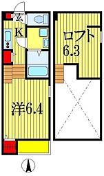 JR外房線 本千葉駅 徒歩7分の賃貸アパート 1階1Kの間取り