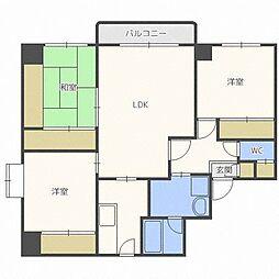 北海道札幌市東区北二十五条東16丁目の賃貸マンションの間取り