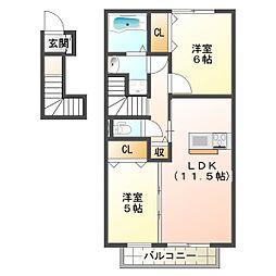 兵庫県神戸市垂水区福田4丁目の賃貸アパートの間取り