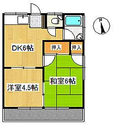 桃江荘[0203号室]の間取り