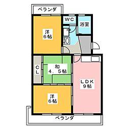 サンライズ竹しま[1階]の間取り