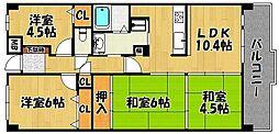 兵庫県明石市川崎町2丁目の賃貸マンションの間取り
