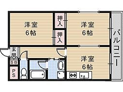 サンハイツ高井田[5階]の間取り