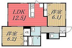 千葉県市原市ちはら台南4丁目の賃貸アパートの間取り