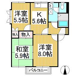 長野県長野市浅川西条の賃貸アパートの間取り