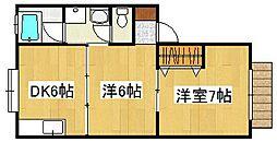 メゾン隼人B[1階]の間取り