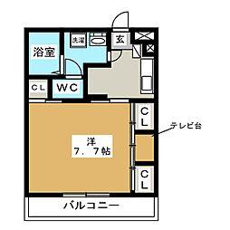 リブリ・FEEL‐M湘南V 2階1Kの間取り