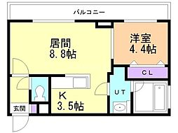 アンジュ・ミニョン 4階1LDKの間取り