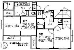 福岡県福岡市中央区西公園の賃貸アパートの間取り