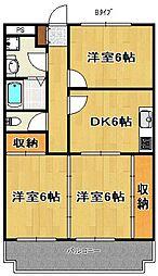 南海線 尾崎駅 徒歩6分の賃貸マンション 4階3DKの間取り