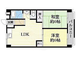 第3マンション北 3階2LDKの間取り