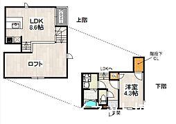 西鉄貝塚線 名島駅 徒歩3分の賃貸アパート 2階1SLDKの間取り