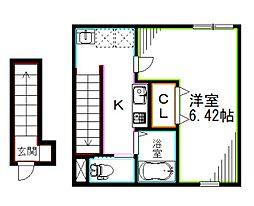 JR中央本線 西荻窪駅 徒歩13分の賃貸アパート 2階1Kの間取り