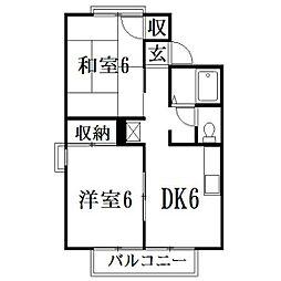 静岡県浜松市中区佐鳴台4丁目の賃貸アパートの間取り