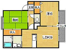 サンマリオA棟[1階]の間取り