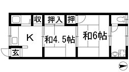 大阪府箕面市新稲3丁目の賃貸アパートの間取り