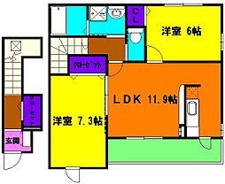 静岡県浜松市北区三幸町の賃貸アパートの間取り