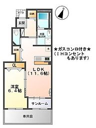 富山県富山市経堂の賃貸アパートの間取り