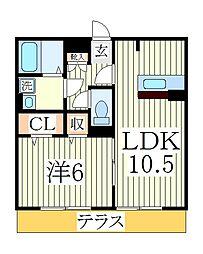 アネーロ・チヨ[1階]の間取り