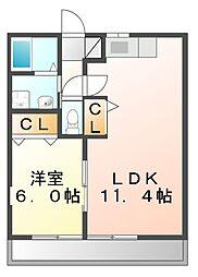 岡山県笠岡市生江浜の賃貸アパートの間取り