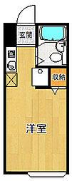 ウッドストックマンション 3階ワンルームの間取り