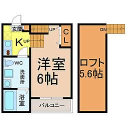 愛知県名古屋市中村区佐古前町の賃貸アパートの間取り
