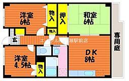 岡山県岡山市北区花尻みどり町の賃貸マンションの間取り