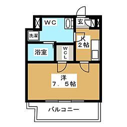 CREVISTA蒲田II 2階1Kの間取り