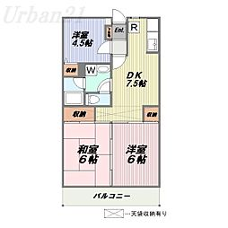 神奈川県横浜市港北区綱島西5の賃貸マンションの間取り