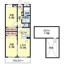 滋賀県彦根市地蔵町の賃貸アパートの間取り