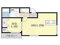 JR阪和線 堺市駅 徒歩6分の賃貸アパート 1階1LDKの間取り