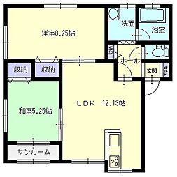 秋田県横手市八幡字長者町の賃貸アパートの間取り