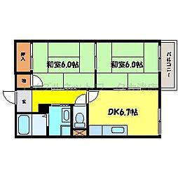 滋賀県大津市昭和町の賃貸アパートの間取り